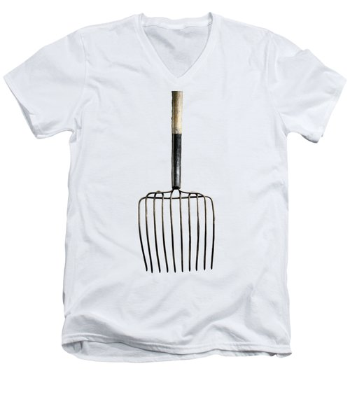 Men's V-Neck T-Shirt featuring the photograph Tools On Wood 25 On Bw by YoPedro