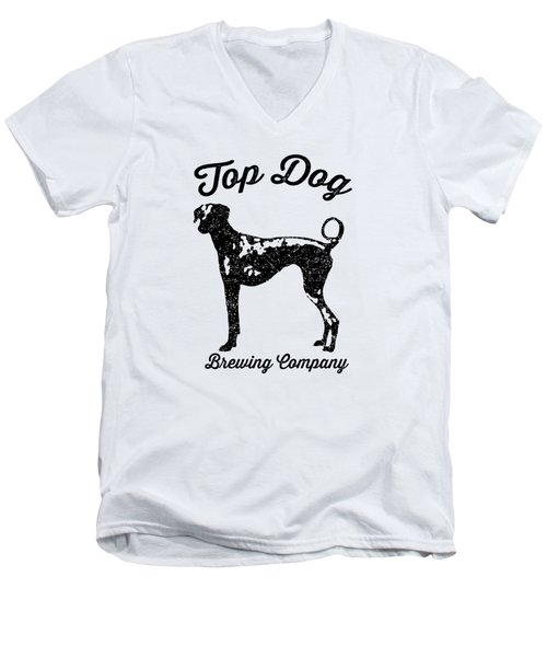 Top Dog Brewing Company Tee Men's V-Neck T-Shirt by Edward Fielding