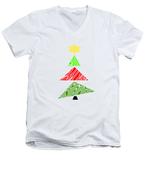 Topsy Turvy Christmas Tree Men's V-Neck T-Shirt by Kathleen Sartoris