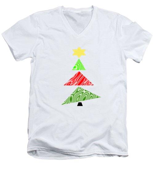 Topsy Turvy Christmas Tree Men's V-Neck T-Shirt
