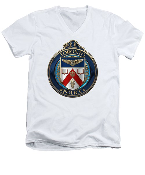 Men's V-Neck T-Shirt featuring the digital art Toronto Police Service  -  T P S  Emblem Over White Leather by Serge Averbukh