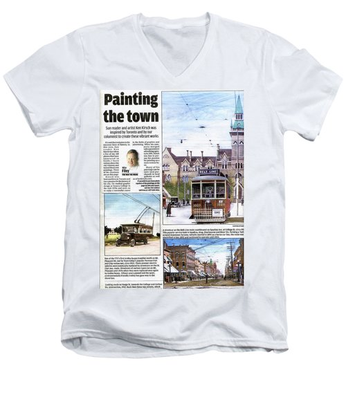 Men's V-Neck T-Shirt featuring the painting Toronto Sun Article Painting The Town by Kenneth M Kirsch