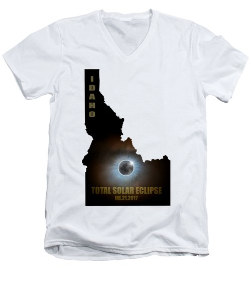 Total Solar Eclipse In Idaho Map Outline Men's V-Neck T-Shirt