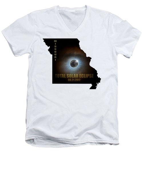 Total Solar Eclipse In Missouri Map Outline Men's V-Neck T-Shirt