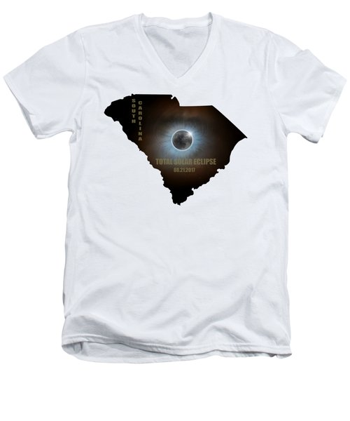 Total Solar Eclipse In South Carolina Map Outline Men's V-Neck T-Shirt
