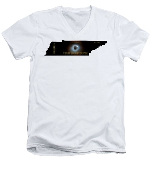 Total Solar Eclipse In Tennessee Map Outline Men's V-Neck T-Shirt