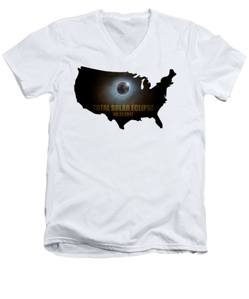 Total Solar Eclipse In United States Map Outline Men's V-Neck T-Shirt