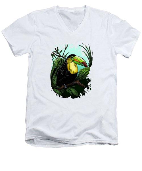 Toucan Men's V-Neck T-Shirt by Adam Santana