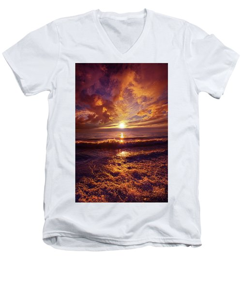 Men's V-Neck T-Shirt featuring the photograph Toward The Far Reaches by Phil Koch