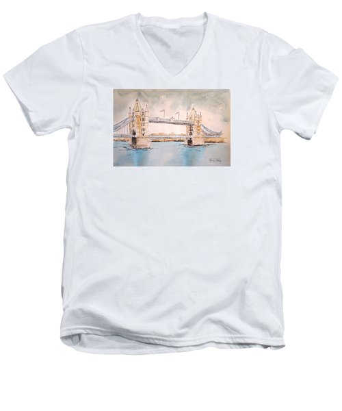 Men's V-Neck T-Shirt featuring the painting Tower Bridge by Marilyn Zalatan