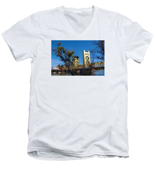 Tower Bridge Old Sacramento Men's V-Neck T-Shirt