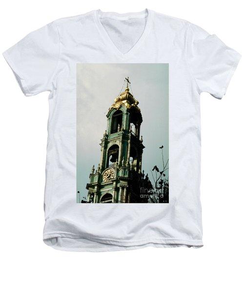 Tower Trinity Lavra Of St. Sergius Sergiev Posad Zagorsk Men's V-Neck T-Shirt by Wernher Krutein