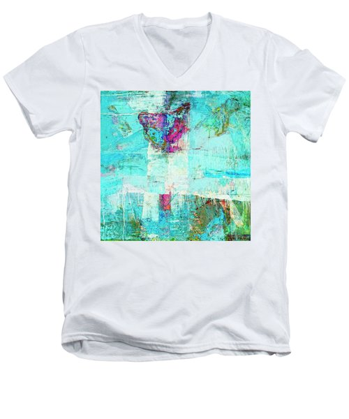 Men's V-Neck T-Shirt featuring the painting Towers by Dominic Piperata