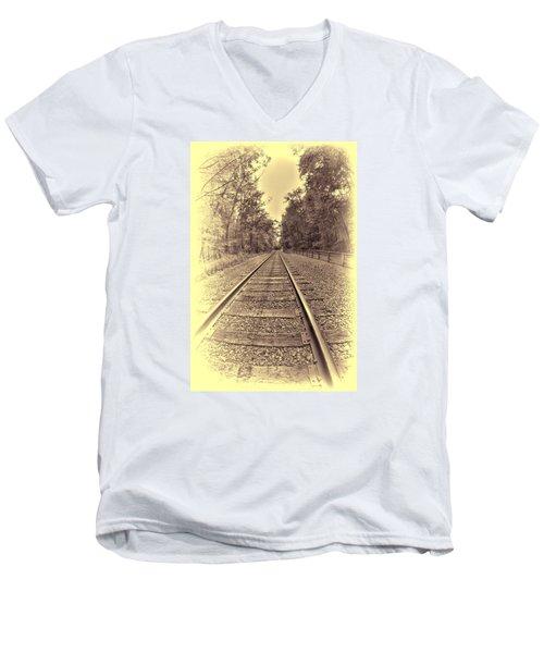 Tracks Through The Park Men's V-Neck T-Shirt by Dennis Lundell