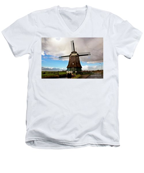 Traditional Dutch Windmill Near Volendam  Men's V-Neck T-Shirt