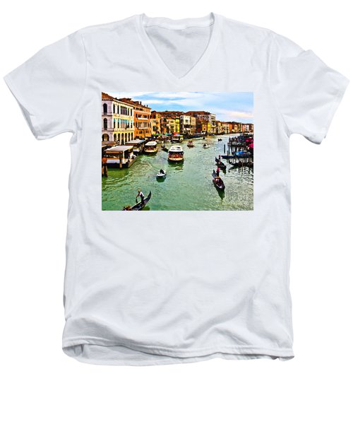 Men's V-Neck T-Shirt featuring the photograph Traghetto, Vaporetto, Gondola  by Tom Cameron