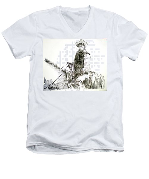 Men's V-Neck T-Shirt featuring the drawing Trail Boss by Seth Weaver