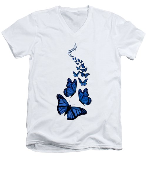 Trail Of The Blue Butterflies Transparent Background Men's V-Neck T-Shirt by Barbara St Jean