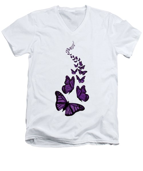 Trail Of The Purple Butterflies Transparent Background Men's V-Neck T-Shirt by Barbara St Jean