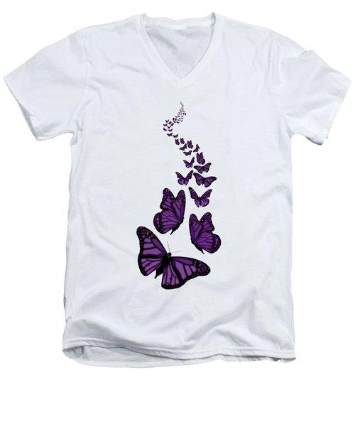 Trail Of The Purple Butterflies Transparent Background Men's V-Neck T-Shirt