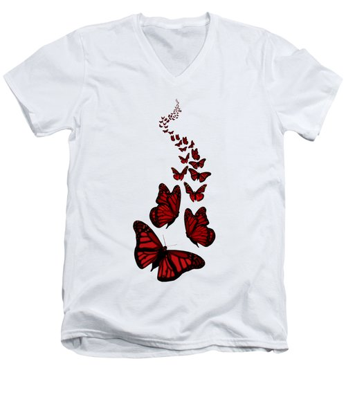 Trail Of The Red Butterflies Transparent Background  Men's V-Neck T-Shirt