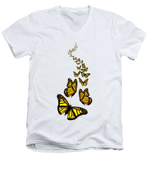 Trail Of The Yellow Butterflies Transparent Background Men's V-Neck T-Shirt