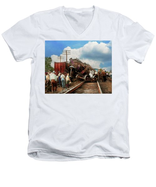 Men's V-Neck T-Shirt featuring the photograph Train - Accident - Butting Heads 1922 by Mike Savad