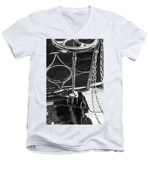 Men's V-Neck T-Shirt featuring the photograph Train Car Connections by Colleen Coccia