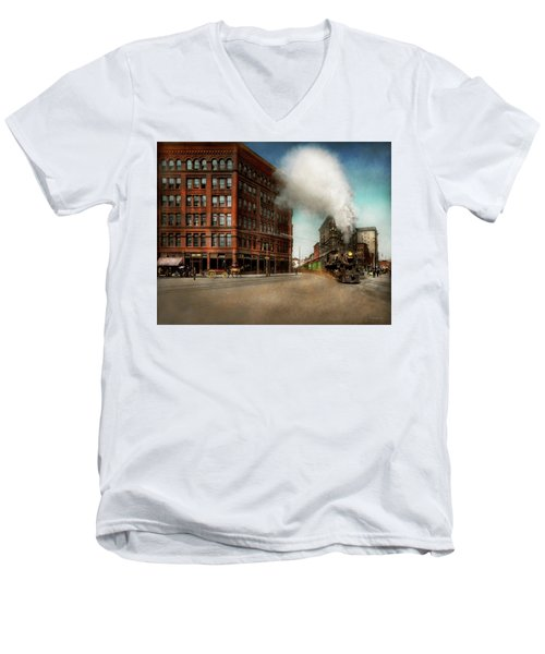 Men's V-Neck T-Shirt featuring the photograph Train - Respect The Train 1905 by Mike Savad