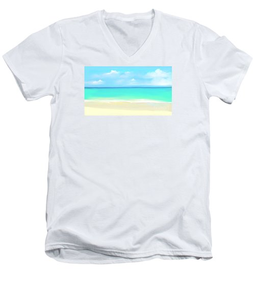 Men's V-Neck T-Shirt featuring the digital art Tranquil Beach by Anthony Fishburne