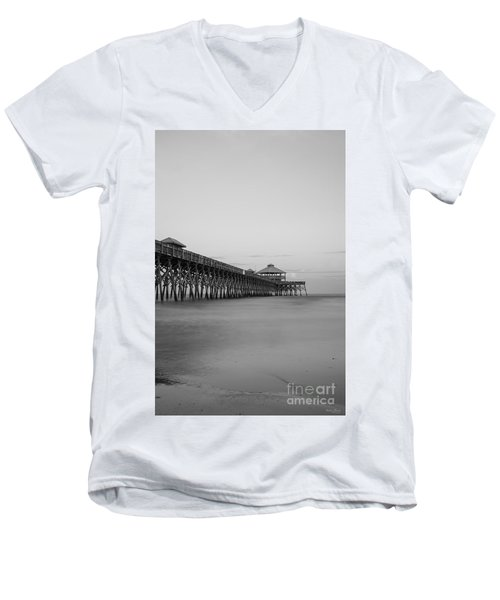 Tranquility At Folly Grayscale Men's V-Neck T-Shirt