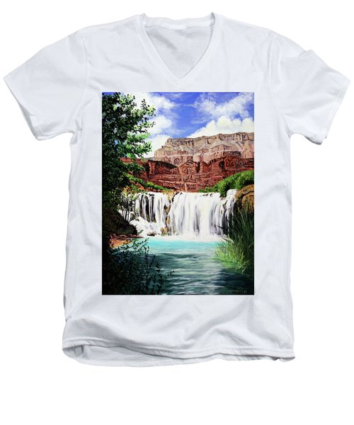 Tranquility In The Canyon Men's V-Neck T-Shirt