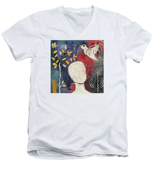 Men's V-Neck T-Shirt featuring the mixed media Tranquility by Mimulux patricia no No