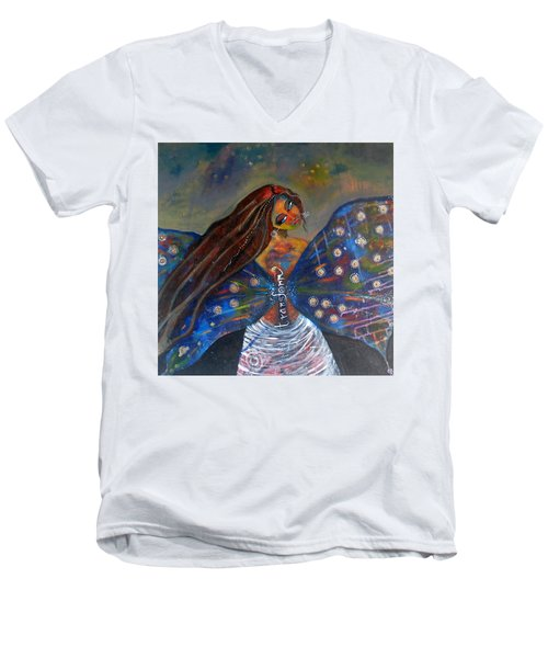 Men's V-Neck T-Shirt featuring the painting Transform by Prerna Poojara