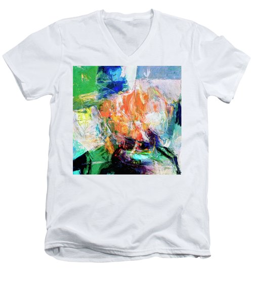 Men's V-Neck T-Shirt featuring the painting Transformer by Dominic Piperata