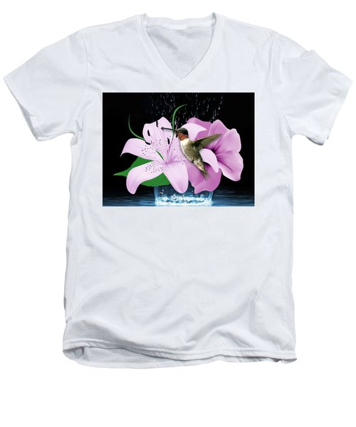 Men's V-Neck T-Shirt featuring the mixed media Transport Hummingbird by Marvin Blaine