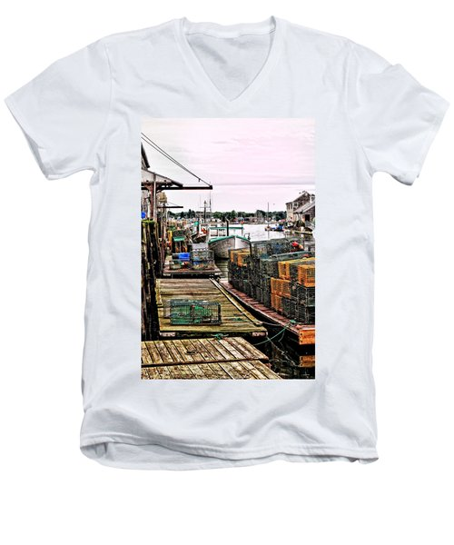 Traps Portland Maine Men's V-Neck T-Shirt by Tom Prendergast