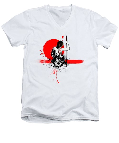 Trash Polka - Female Samurai Men's V-Neck T-Shirt by Nicklas Gustafsson