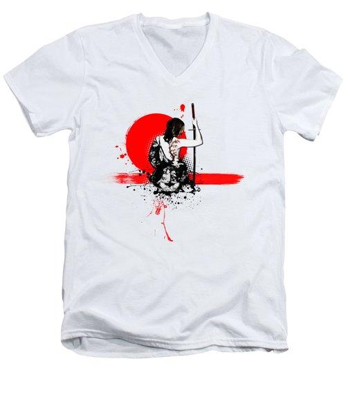 Trash Polka - Female Samurai Men's V-Neck T-Shirt