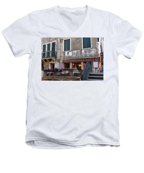 Trattoria Dona Onesta In Venice, Italy Men's V-Neck T-Shirt