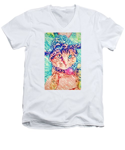 Trav With Hat Men's V-Neck T-Shirt