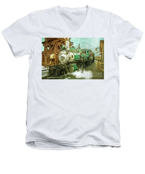 Traveling By Train Men's V-Neck T-Shirt by Claudia Ellis