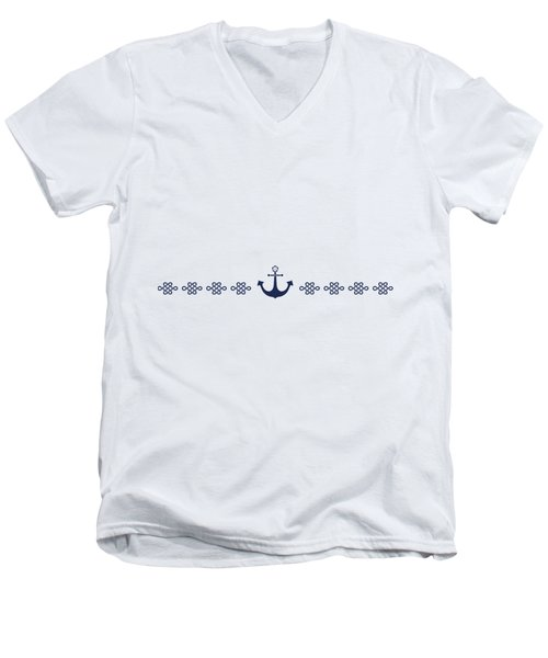 Treasure Knot And Anchor In Blue Men's V-Neck T-Shirt