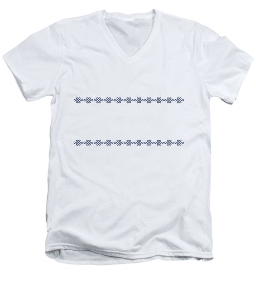 Treasure Knot In Blue Men's V-Neck T-Shirt