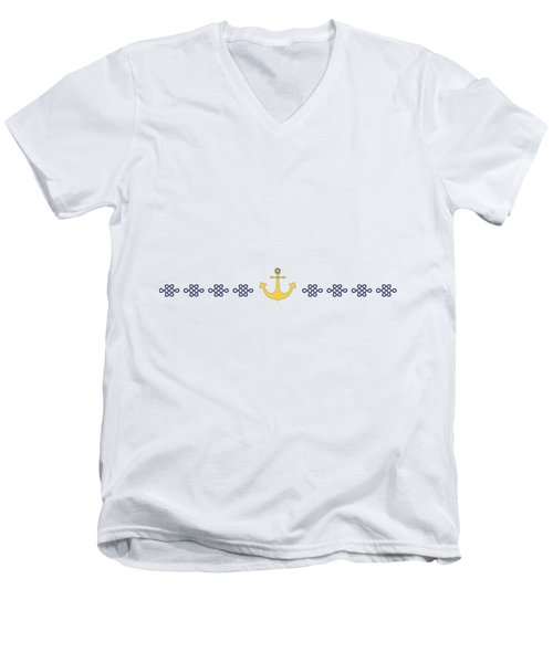 Treasure Knot With Yellow Anchor  Men's V-Neck T-Shirt