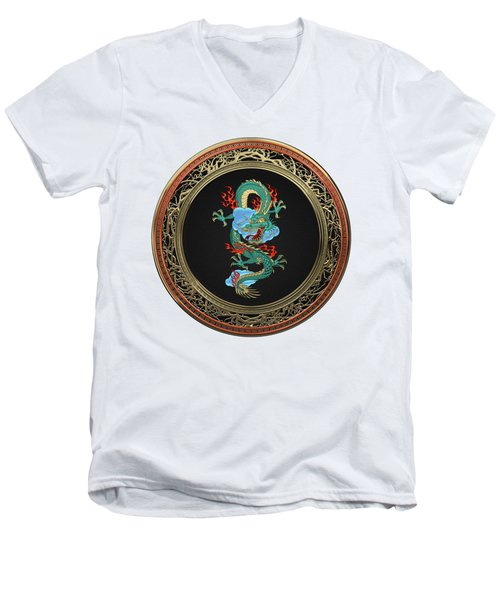 Treasure Trove - Turquoise Dragon Over White Leather Men's V-Neck T-Shirt by Serge Averbukh
