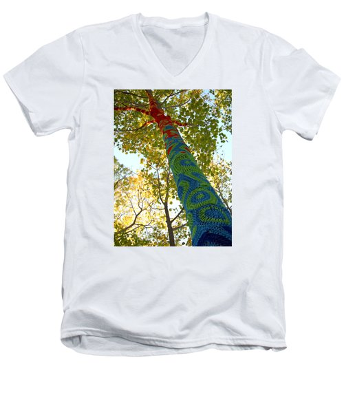 Tree Crochet Men's V-Neck T-Shirt by  Newwwman