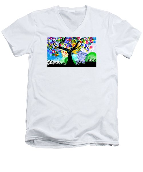 Tree Dance Men's V-Neck T-Shirt by Patricia Arroyo