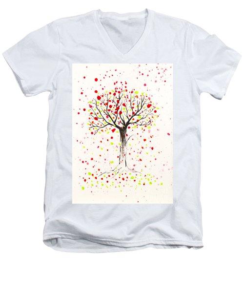 Tree Explosion Men's V-Neck T-Shirt by Stefanie Forck