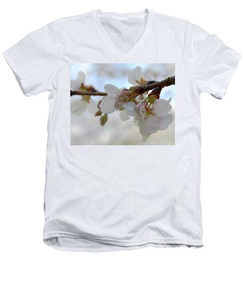 Dogwood Branch Pink Men's V-Neck T-Shirt